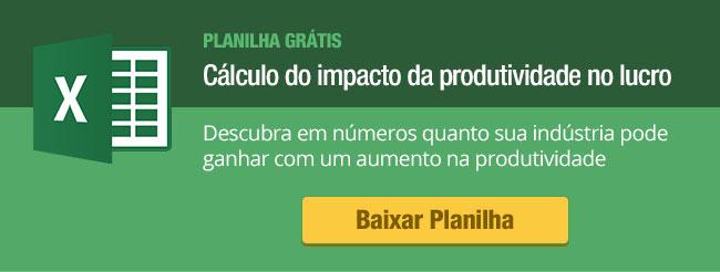 Planilha para o cálculo do impacto da produtividade no lucro de uma fábrica