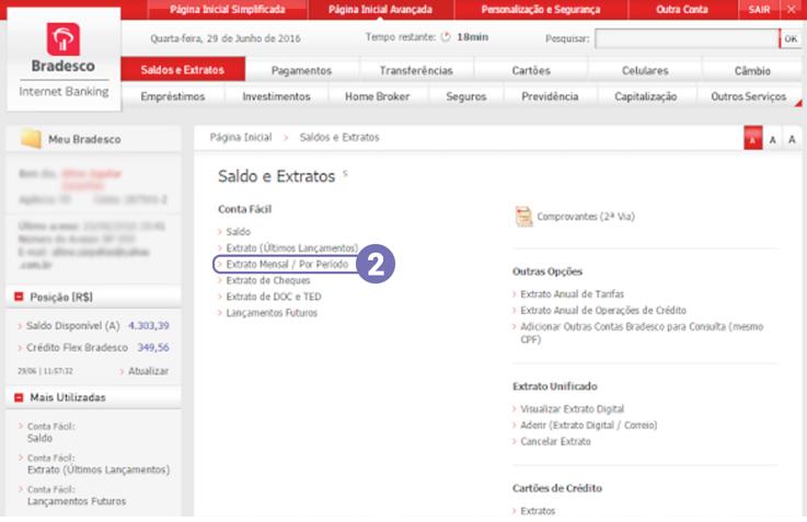 Como exportar o extrato bancário em arquivo OFX no Bradesco