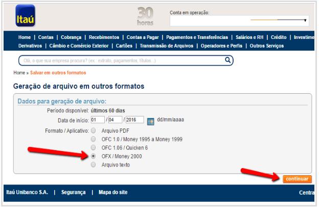 Como exportar o extrato bancário em arquivo OFX no Itaú