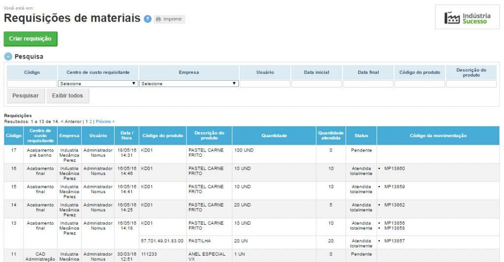 Exemplo de requisições de materiais para o estoque no Nomus ERP Industrial